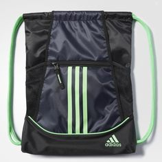 Keep gear organized for the game in this drawstring training bag. It's designed with breathable mesh ventilation, a front zippered pocket lined in soft tricot, and two side mesh pockets deep enough to fit water bottles.