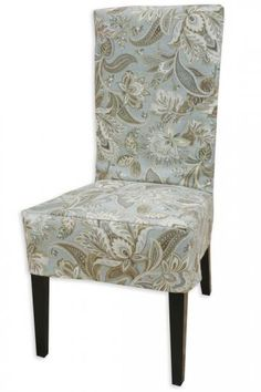 dining room chair -- coordinates with pillows on living room couch Parsons Chair Slipcovers, Parsons Chairs, Furniture Upholstery, Dining Room Chairs, Pottery Barn, Accent Chairs, Collection, Living Room, Decor Ideas