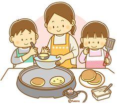 ホットケーキを焼いているお母さんと子どもたちのイラスト(ソフト) | 子供と動物のイラスト屋さん わたなべふみ