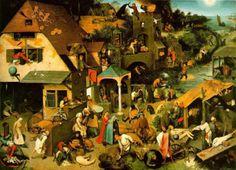 Netherlandish Proverbs, by Pieter Bruegel the Elder, 1559.Oilonwood,3′10″×5′4 1/8″. Gemäldegalerie,Staatliche MuseenzuBerlin,Berlin. - Northern Renaissance