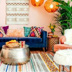 bohemian interior decorating n life a home design decor a nontraditional living a elements of bohemian home decorating Colourful Living Room, Boho Living Room, Living Area, Small Living, Living Spaces, Modern Living, Bright Living Room Decor, Colorful Couch, Bright Decor