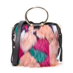 Milly Faux Fur Drawstring Bucket Bag (4.277.765 IDR) ❤ liked on Polyvore featuring bags, handbags, shoulder bags, multi, colorful purses, drawstring handbags, bucket bags, tri color handbags and faux fur handbags