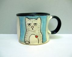 Cat Mug, Small, Blue and Gray Tabby Kitty Mug with Surly Cat, Small Ceramic Coffee Mug or Tea Mug, Animal Pottery, Gift for Cat Lovers