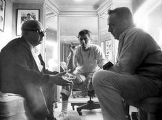 During the filming of It´$ Only Money, Jerry Lewis engages in conversation with his frequent directors Norman Taurog and Frank Tashlin. 1962