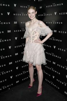 Elle Fanning in Alexander McQueen Fall 2016 attends the after party for Neon Demon in association with BULLDOG Gin during the 69th Annual Cannes Film Festival #Cannes2016