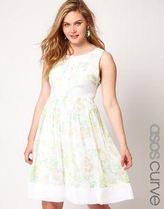 ASOS CURVE Premium Midi Dress In Floral Print