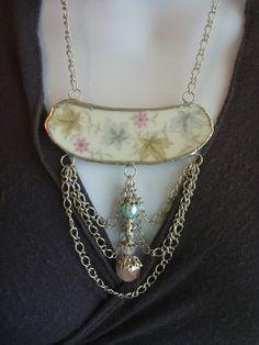 Broken China JewelryBroken China Pastel Leaves Bib by DLTrinkets, $50.00