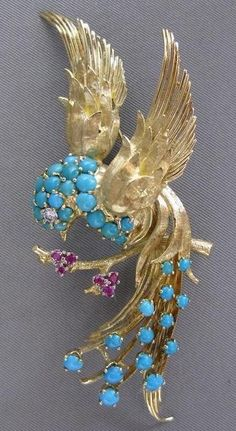 DIAMOND RUBY TURQUOISE PEACOCK BIRD 18KT YELLOW GOLD PIN BROOCH