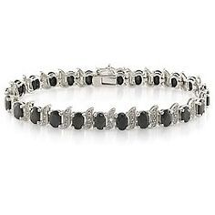 Sterling Silver 14 7/8 CT TGW Black Sapphire 0.03 CT TDW Diamond Bracelet (I3) Amour. $48.99. Save 67% Off!