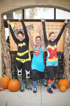 Superheroes! Batgirl, Supergirl, and Wonder Woman.  #running #costume