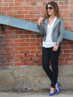 Tweed jacket + blue heels    http://marionberrystyle.blogspot.com