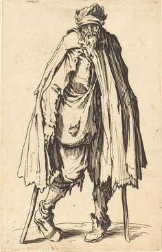 Beggar with Crutches and Sack | Jacques Callot, Beggar with Crutches and Sack (ca. 1622)