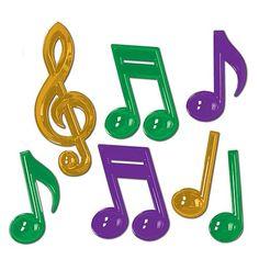 Mardi Gras Plastic Music Notes