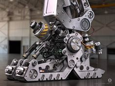 A fantasy mecha foot in raw metal Modeled using CAD tools and Studio MAX Rendered in MAX using Vray - technology Robot Design, Bike Design, Mechanical Design, Mechanical Engineering, Mecha Suit, Science Fiction, Spaceship Interior, Hard Surface Modeling, Robots Characters
