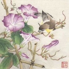 """""""Country Morning"""" - Original Fine Art for Sale - © Jinghua Gao Dalia Japanese Painting, Chinese Painting, Chinese Art, Japanese Art, Art Floral, Decoupage, Asian Artwork, Illustration Blume, Plant Painting"""