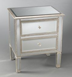 Two Drawer Mirrored Bedside Table eclectic-nightstands-and-bedside-tables