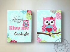Owl Nursery Decor  OWL canvas art Baby Girl Nursery by MuralMAX, $102.00
