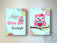 Owl Nursery Decor  OWL canvas art Baby Girl Nursery by MuralMAX, $102.00