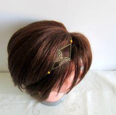 Headband, bijou de tête, collier bohème chic bronze, papillon, perles jaunes : Accessoires coiffure par color-life-bijoux