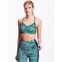 Old Navy Womens Light Support Ruched Cami Sports Bra ($13) ❤ liked on Polyvore featuring activewear, sports bras, kelp forest, print cami, cami sports bra, v neck sports bra, v neck camisole and racerback cami