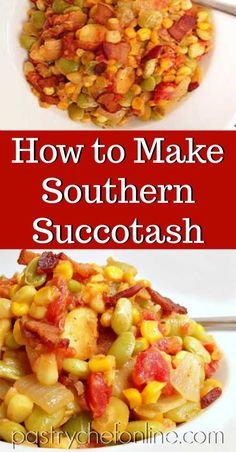 Succotash is not only a Southern side dish recipe. It's also a Thanksgiving side dish. This versatile, easy succotash recipe can be made with fresh, frozen, or canned vegetables and even can be made vegetarian or vegan if you choose. Easy Vegetable Side Dishes, Side Dishes Easy, Side Dish Recipes, Canned Vegetable Recipes, Vegetarian Side Dishes, Southern Side Dishes, Southern Recipes, Southern Thanksgiving Recipes, Southern Comfort