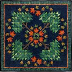 """New Quilt Pattern Pieced Appliqued Maple Trees Finsihed Sz 51""""X51""""   eBay"""