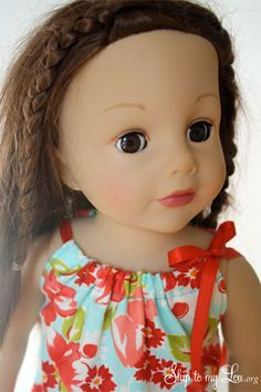 """Easy 18"""" Doll Dress To Sew - and easy for the kid to dress the doll w/o mom's help!"""