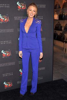 But with a shirt. //  Elie Saab electric blue pantsuit