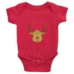 This short-sleeve baby onesie is soft, comfortable, and made of 100% cotton. It's designed to fit infants of all sizes, with a rib knit to give good stretch and a neckband ... #deer