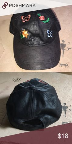 f5516af745b Fall Gardens Distressed Baseball Cap August Hat Company. Black distressed  cap decorated with two colorful