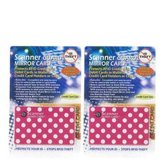 507386 - Scanner Guard 2 Sets of 2 RFID Protecting Cards for Wallets -  QVC PRICE: £22.00 INTRODUCTORY PRICE: £19.68 + P&P: £3.95 in 5 colour options The size of a credit card, the scanner guard card is composed of a mixture of metals that prevent thieves from using handheld scanners to read the personal information stored on your credit cards, debit cards, smartcards and any other RFID cards.