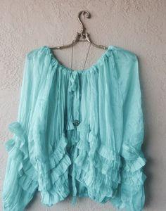 Sea Glass Mermaid Gypsy blouse in silk chiffon
