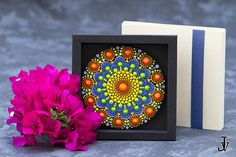 This is a gorgeous miniature painting- so vibrant, colorful and tactile! Bright and amazing work of Dotillism Art, Meditation Mandala, Hand painted Mandala fridge magnet with - acrylic paint on wood diametro 10 cm (3,9inch )with crystals, which sparkles in different light. This is