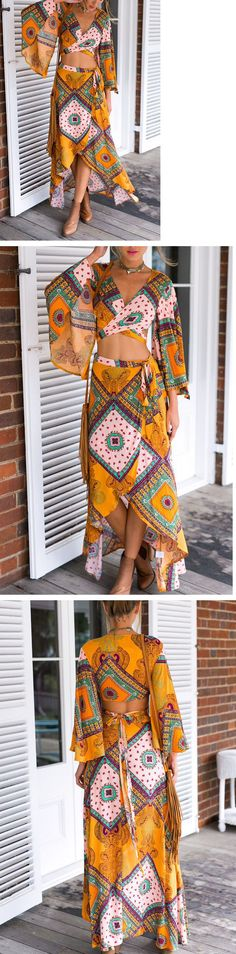 Yellow Print Flare Sleeves Two Piece Dress