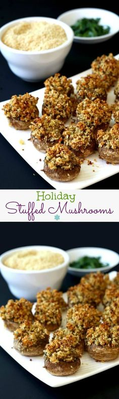 Holiday Stuffed Mushrooms are classically filled with a bit of grated carrot for a pretty and tasty recipe. A perfect side dish or appetizer. You decide. ~ https://veganinthefreezer.com