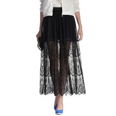 Women See Through Floral Lace Patchwork Maxi Long Bohemia Pleated Skirt Girl 2014 Summer New Hollow Out Sexy White Black Skirt d $27.46
