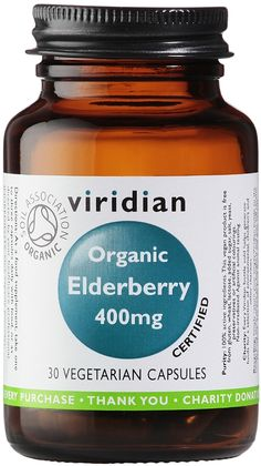 Viridian Organic Elderberry 400mg Certified Organic by the Soil Association. Elderberries have long been used as food. The leaves were used by European herbalists for pain relief & to promote the healing of injuries when applied as a poultice. Native American herbalists used the plant for infections, coughs & skin conditions. Use: colds and influenza virus, feverish conditions, catarrhal congestion of upper respiratory tract, sinusitis & perennial rhinitis, hayfever & allergies. Kosher…
