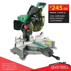 """Now available at Adam tools with great price HITACHI - C12FDH 12"""" DUAL COMPOUND MITER SAW WITH LASER MARKER Visit our website for more information and special offers ...  http://www.adam-tools.com/c12fdh-12-dual-compound-miter-saw-with-laser-marker.html #canada #mississuaga #power_tools #building_supplies  #adamtools #shop_online #buy_online #hitachi"""