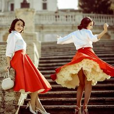 Our Sateen Circle Skirts are so fabulous, you will feel like a real pin-up goddess! 😍 Tiny waist and a full skirt promise for an unforgettable night of dancing. Circle Dress, Full Circle Skirts, Full Skirts, Fifties Fashion, Retro Fashion, Vintage Fashion, Vintage Style, Vintage Ladies, Cute Dresses