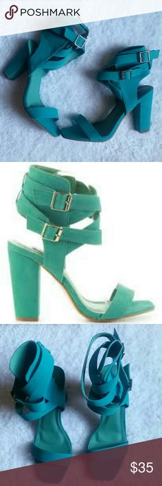 Turquoise High Heel Sandals Very flattering with chunky, sturdy heels. Suede material. Buckled straps, man-made upper, rubber sole. 4 inch heel height. Shoes Heels