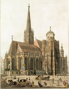 Stephen's Cathedral, from the southeast Monuments, Saint Stephen, Vienna Austria, Old Buildings, 18th Century, Landscape Paintings, Barcelona Cathedral, Framed Artwork, Find Art