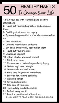 Good Habits, Healthy Habits, Self Development, Personal Development, Positive Self Affirmations, Journal Writing Prompts, Mental And Emotional Health, Self Care Activities, Self Improvement Tips