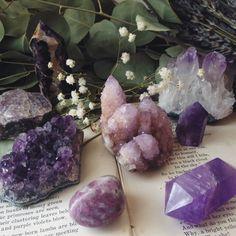 Amethyst, cactus quartz and lepidolite <3