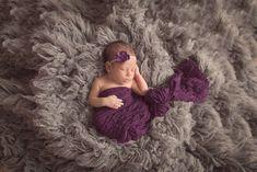 SET Eggplant Purple Ruffle Wrap and Flower Headband | Beautiful Photo Props