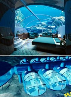This whole bedroom is underwater! Probably can't be done to an apartment, but you can wish...