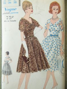 Vintage Vogue 9935 Sewing Pattern, 1960s Dress Pattern, Gathered Skirt Dress, Bust 36, 1960s Sewing Pattern, Slip Pattern, Slip and Dress by sewbettyanddot on Etsy
