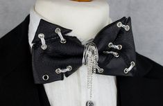 Jack Skellington Inspired Leather Torn & Tattered Wire Stitch Bow Tie