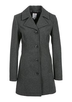 s.Oliver wool coat in black melange
