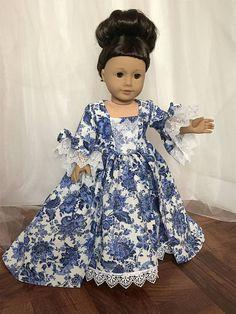 Blue and White Marie Antoinette Inspired 18 American