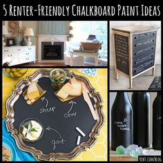 Chalkboard paint can make for a fun, easy, and cheap DIY project. But if you're renting, you might not be able to cover your walls with chalkboard paint. Here are some renter-friendly chalkboard paint ideas that won't make your landlord hate you!